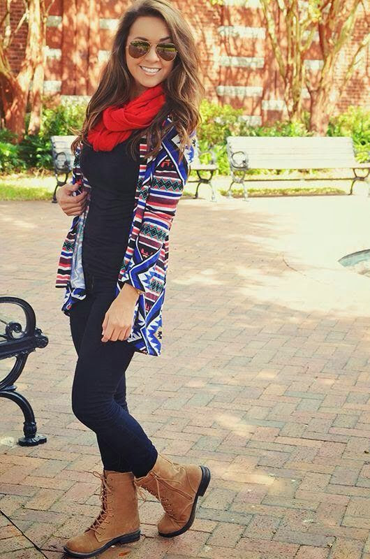 Aztec Cardigan and Red Scarf, Black Blouse and Tight Jeans with Boots on Street