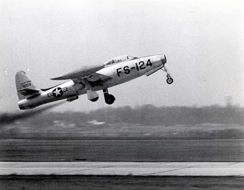 Republic F-84E-5-RE Thunderjet rocket assisted takeoff on Feb. 21, 1952. by aeroman3