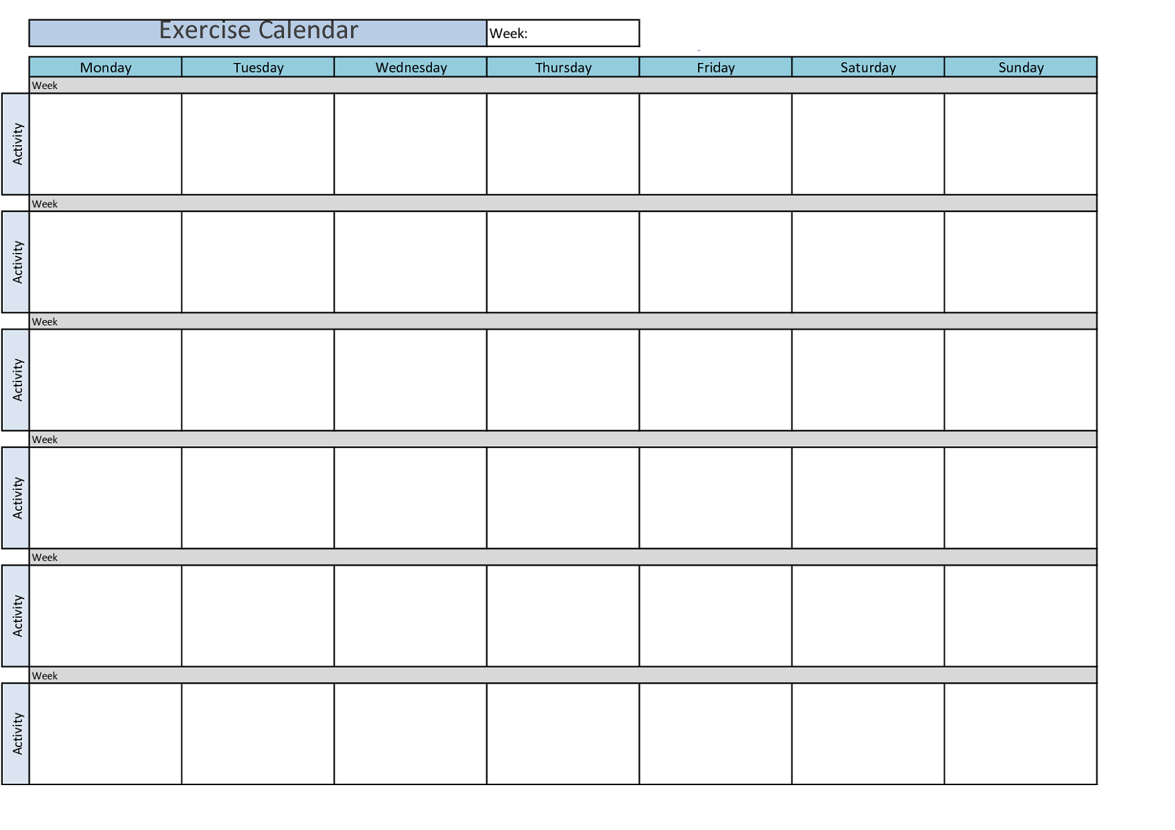 Printable Workout Calendar weekly