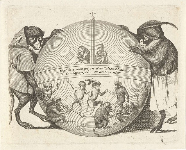 2 monkeys with a monkey-filled globe of the world