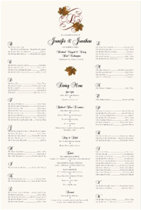 Fall Wedding Seating Chart Autumn Theme Wedding Reception
