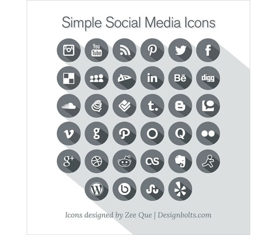 Free Long Shadow Simple Social Media Icons 2013