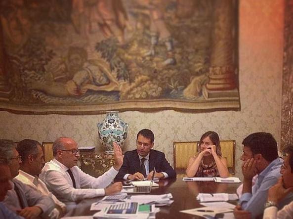 Un momento del vertice a Palazzo Chigi (da Twitter)