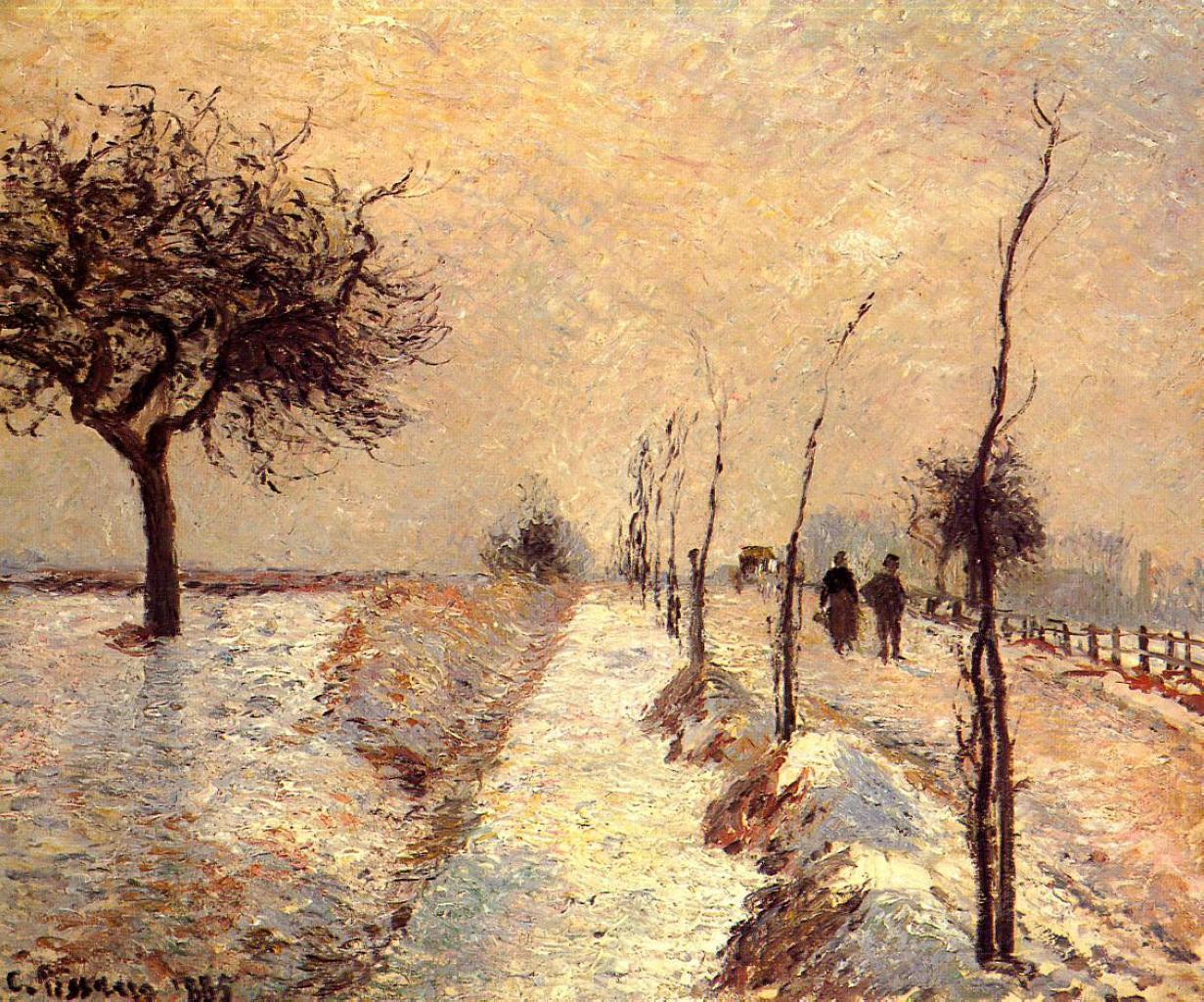Camille Pissarro - Road at Eragny, Winter (1885)