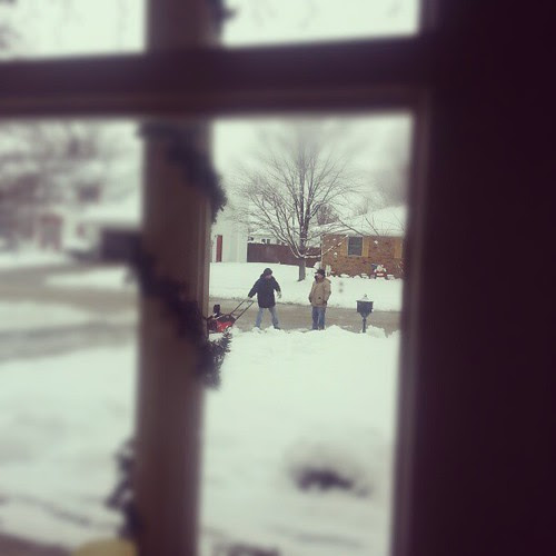 John and Dad snow blowing our drive way. #awesomedadtotherescue :)