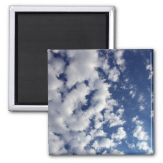 Puffy Clouds On Blue Sky Fridge Magnets