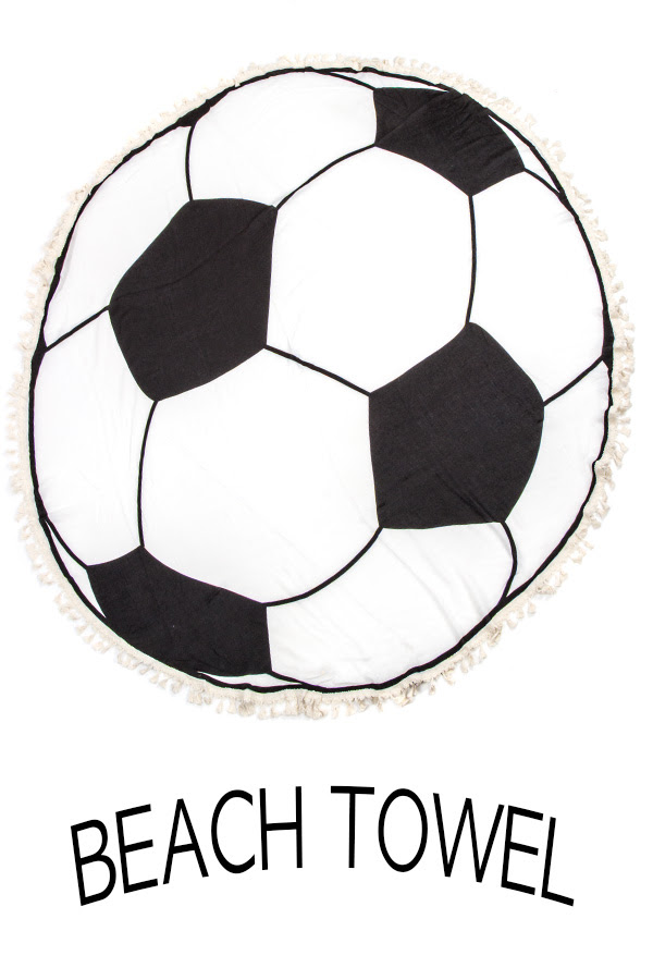 Soccer Ball Print Fringe Border Beach Cover