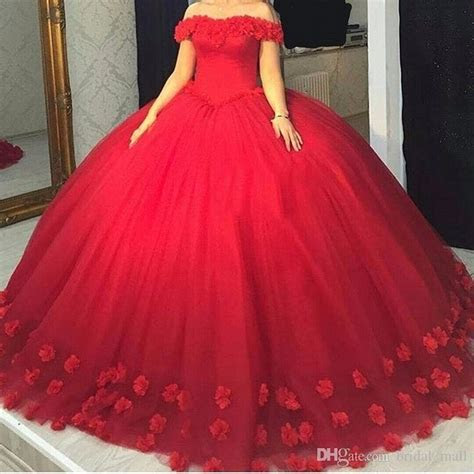 red quinceanera dresses  hand  flowers ball
