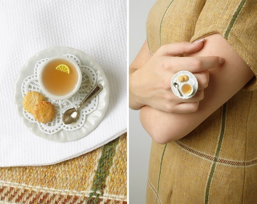 """Tea Cup Statement Ring With Shabby Lace Doily and Cookies """"Léonie"""", Miniature Food Jewelry - made to order"""