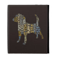 Funny Word Cloud Dog Sit Stay Fetch iPad Folio Case
