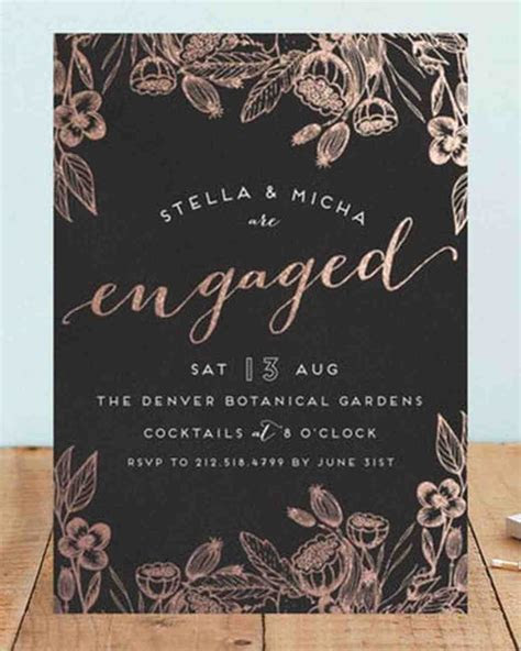 20 Engagement Party Invitations   Martha Stewart Weddings