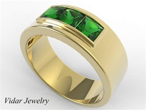 Mens Wedding Band Unique Yellow Gold Ring With Emerald by