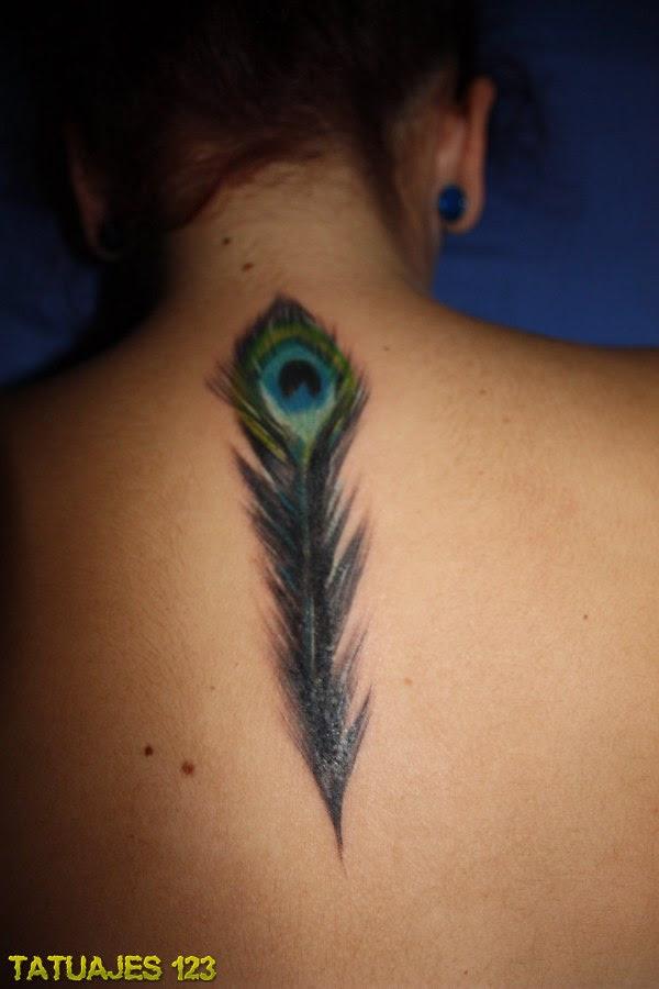 Pluma De Pavo Real En La Espalda Tatuajes 123