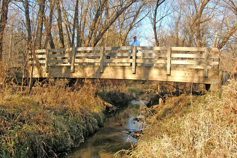 Purgatory Park bridge with Sadie