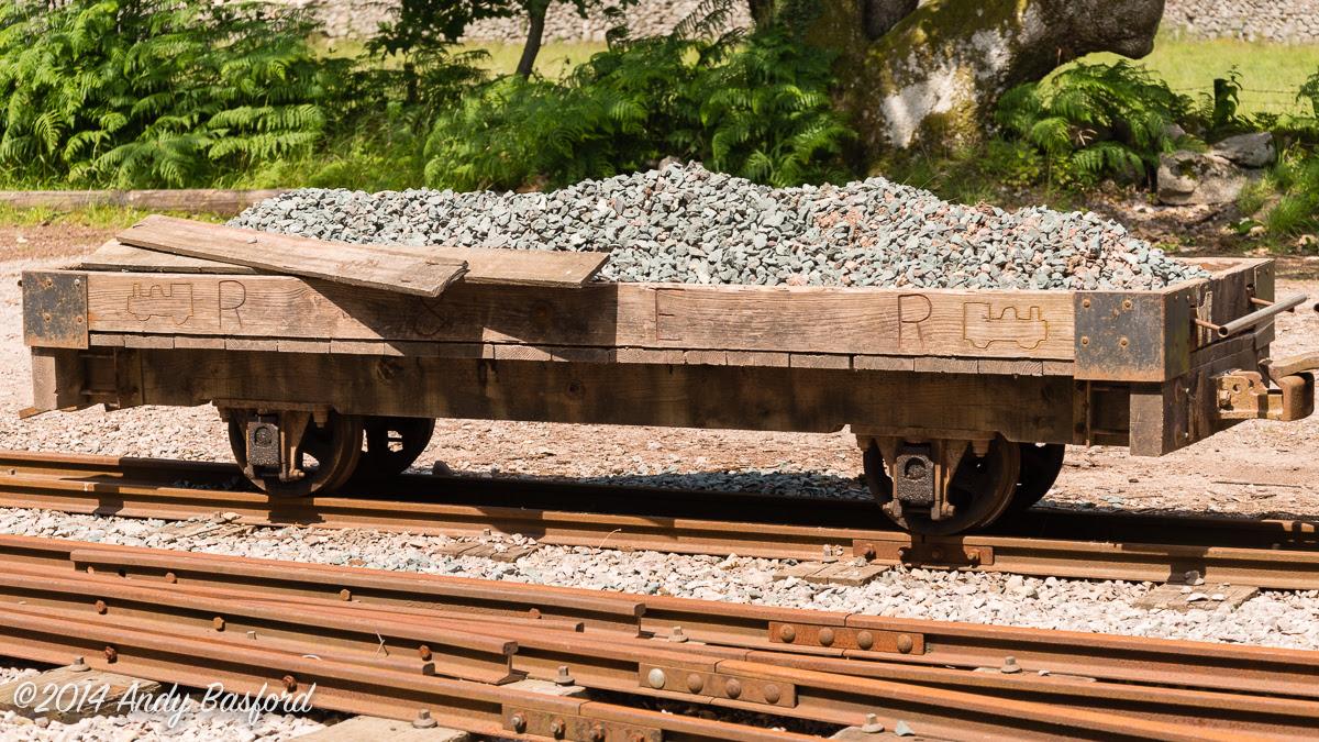 Ravenglass & Eskdale Railway 'Top' wagon at Itrotn Road station, 10/7/14