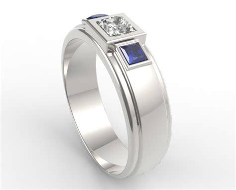 stone diamond blue sapphire wedding band  mens