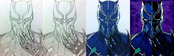 Work-in-progress photos of my BLACK PANTHER drawing.