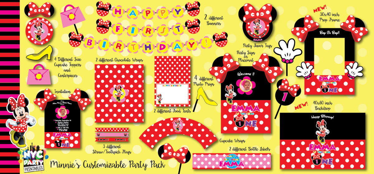 Minnie Mouse Birthday Minnie Mouse Party Pack With Photo Booth