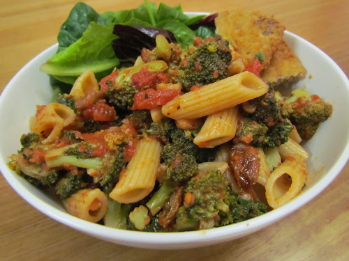 Penne and Broccoli with Tomatoes, Walnuts, and Raisins