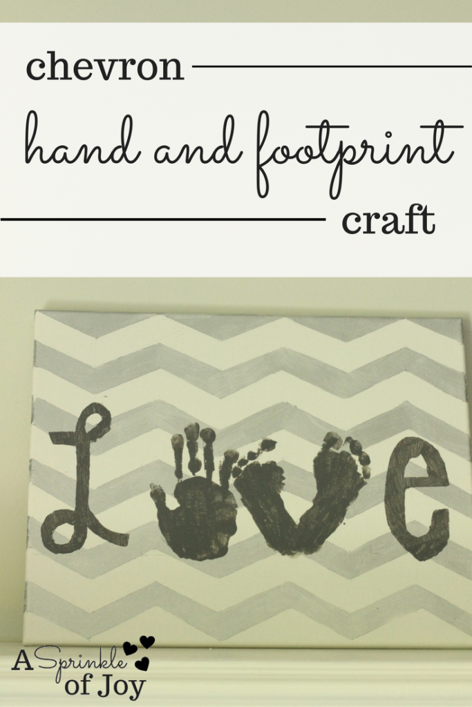 This simple diy chevron hand and foot print craft is a great idea for a gift or as a way to spruce up your house.
