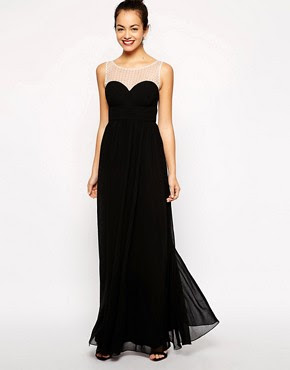 Image 1 ofNew Look Diamante Mesh Yoke Maxi Dress