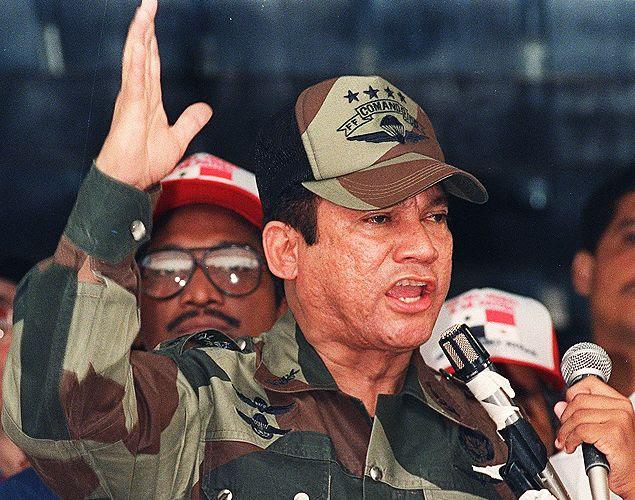 General Manuel Noriega durante discurso em 1988 na Cidade do Panamá