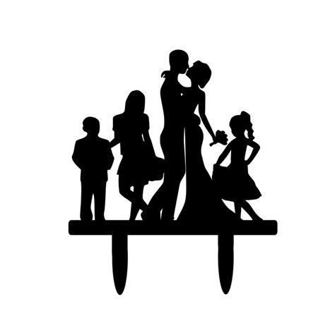 Silhouette Dancing Bride and Groom Wedding Cake by