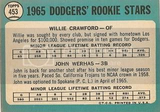 #453 Dodgers Rookies: Willie Crawford and John Werhas (back)
