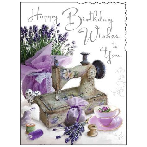Birthday Card Female ~ Lady Happy Birthday ~ Sewing