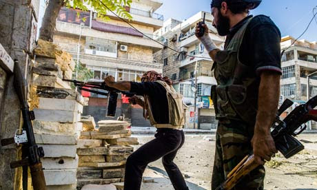 Free Syrian Army rebels shooting at government position and snipers in Aleppo