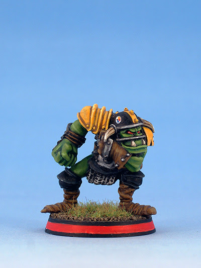 Blood Bowl Orc Blitzer with red base ring