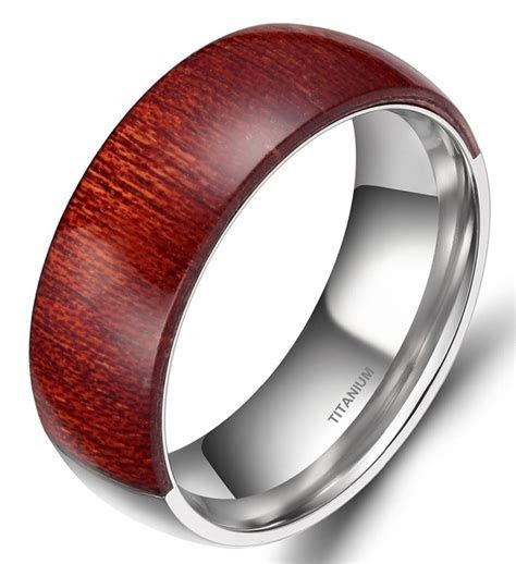 Wood Inlay Ring Men 8mm Engagement Wedding Band Mahogany