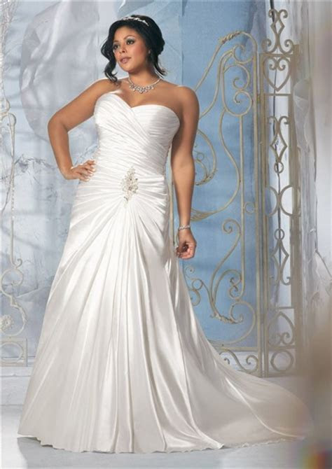 Princess A Line Strapless Sweetheart Ruched Satin Plus