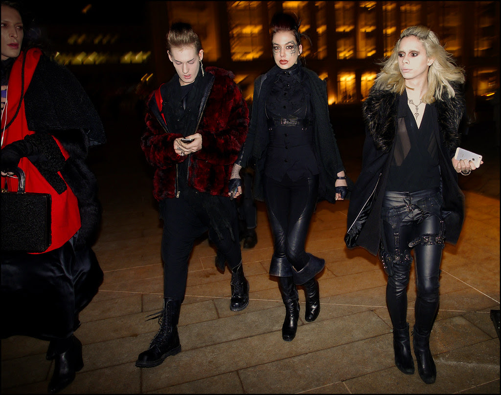 FW 2014-2 -05 entering skingraft group  black on black leatherred faux fur coat