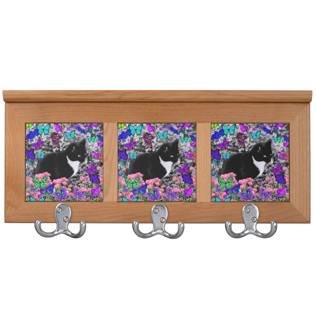 Freckles in Butterflies III, Tux Kitty Cat Coat Racks