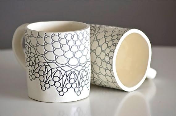 Cloudy Day Gray Mugs, Handmade