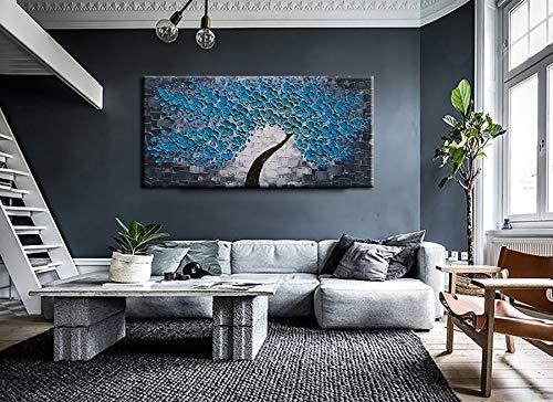 Large Blue Wall Art Modern Blue Flower Canvas Paintings Decor Living R Asdamart