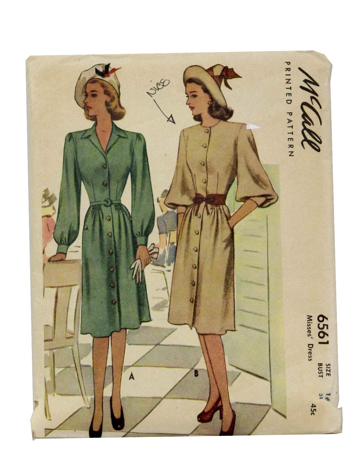 40s -McCall No.6561- Womens classic style button front dress with optional sleeves and collars.