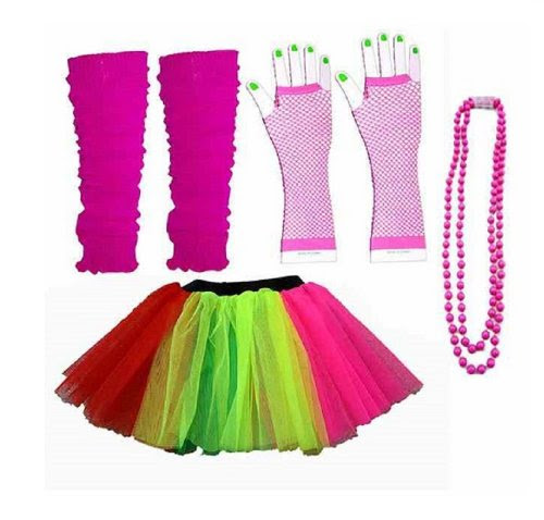 Four Piece Adult Womens 8-14 Multi Colour Rainbow Tutu Set Tutu Legwarmers Fishnet Gloves Beads 80s Fancy Dress