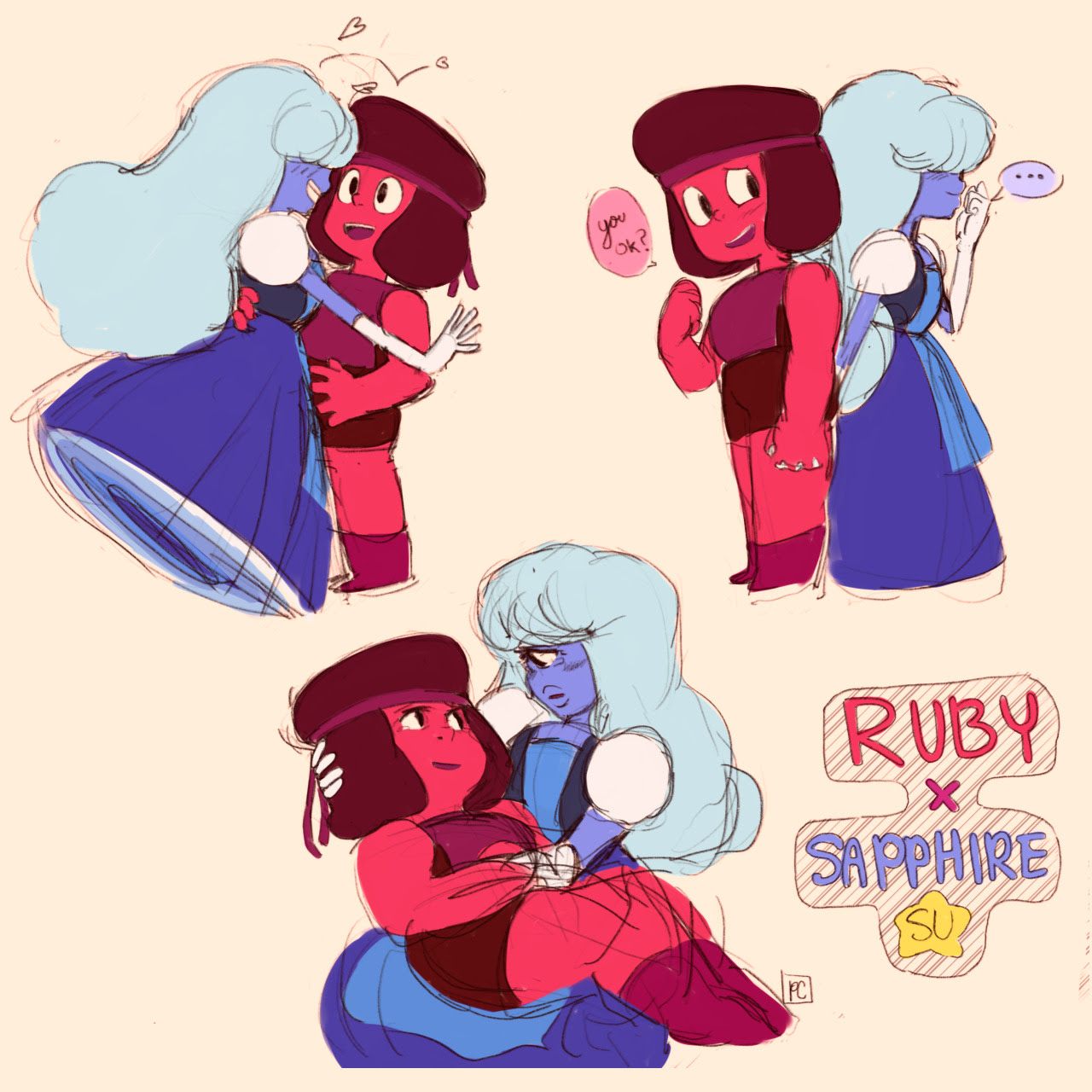 sketched some rupphires today ❤️💙