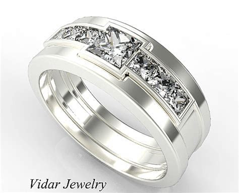 Princess Cut Diamonds White Gold Wedding Ring For Men's