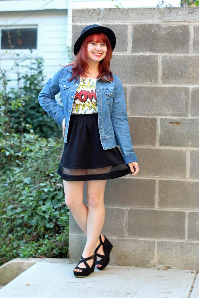 Jean Jacket, Comic Print Top, Skater Skirt