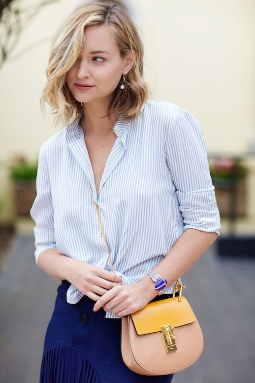 Le Fashion Blog 25 Ways To Wear A Striped Button Down Shirt Chloe Drew Bag Via Late Afternoon Blue Skirt Blogger Style