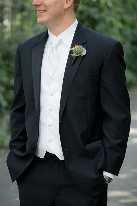 Groom's Tuxedo and Boutonniere  with ivory instead of