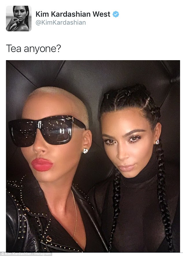 Putting it all behind them: Kim Kardashian posted a friendly Instagram selfie of herself and Amber Rose on Tuesday - following Amber's very public Twitter spat with Kim's husband Kanye West