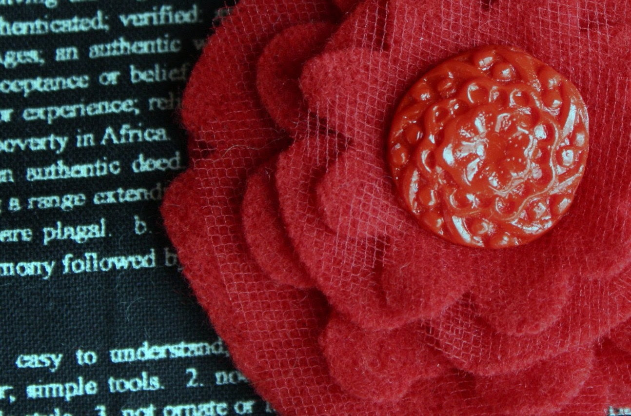 Upcycled Red Felted Wool Flower Embellishment with Polymer Clay Button