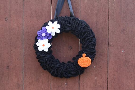 Wreath Home Decor Halloween Black Felt with Flowers Door Hanging