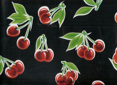 Oilcloth Fabric Cherries Black