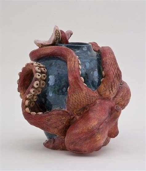 Hand Crafted Octopus Sculpture With Starfish by All Fired