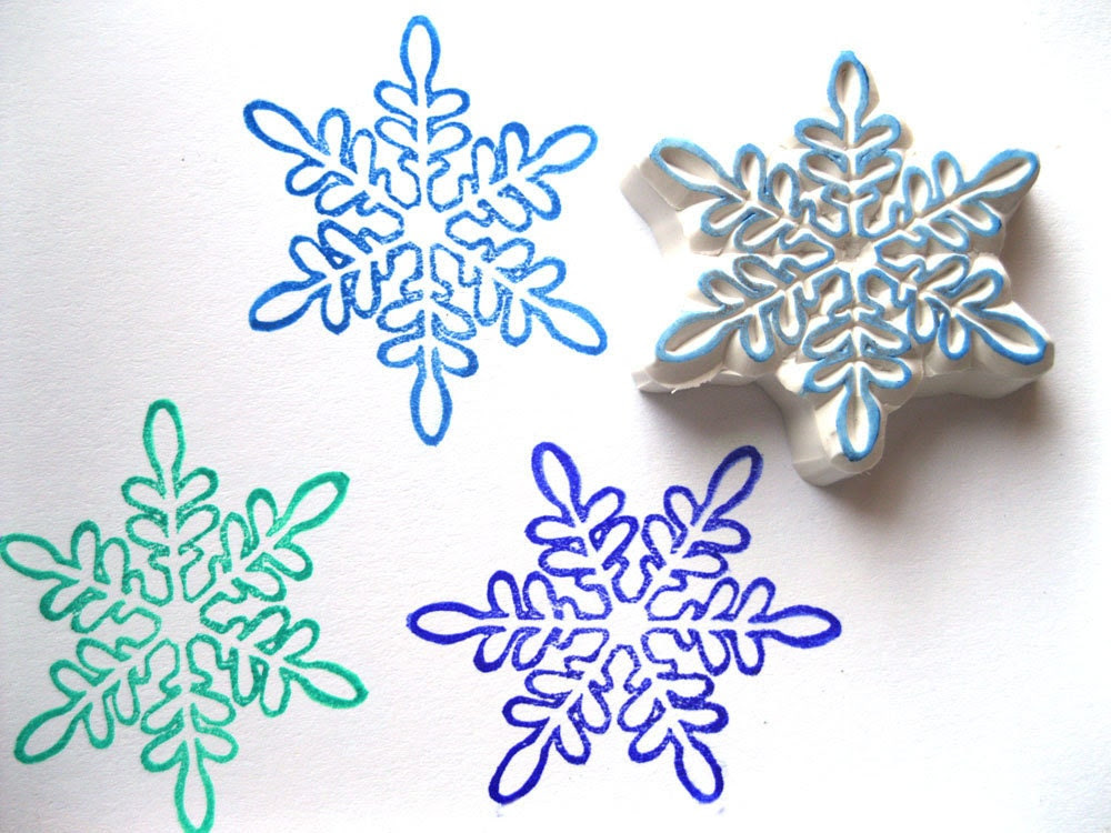 Snowflake Hand Carved Rubber Stamp